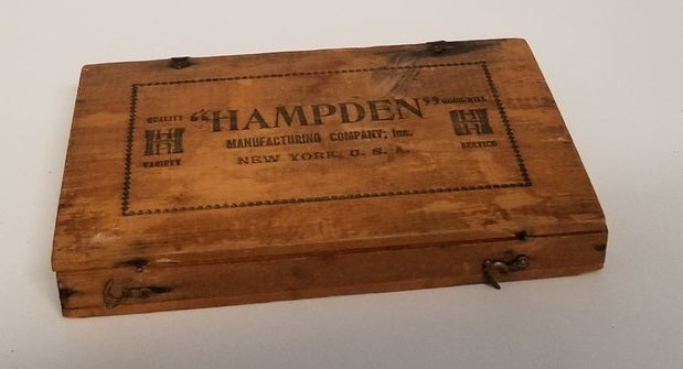 ANTIQUE WOOD HAMPDEN TACK BOX