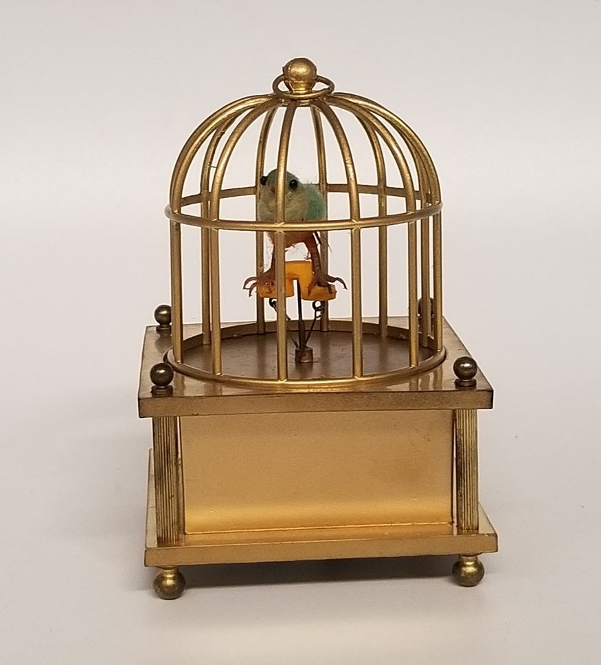 SMALL GOLD MUSIC BOX WITH BIRD IN CAGE