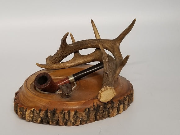 ANTLER AND WOOD ASHTRAY