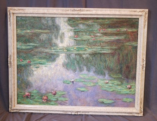 BEAUTIFUL OIL PAINTING OF LARGE LILY PAD POND IN THE STYLE OF MONET