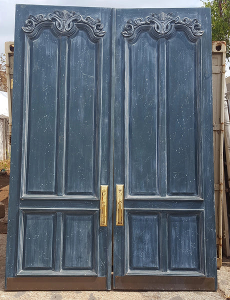 PAIR TALL BLUE PAINTED DOORS WITH BRASS HARDWARE