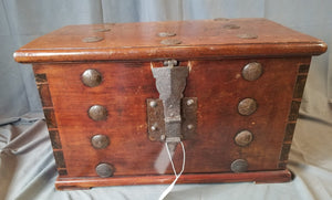 EARLY DOVETAILED COFFER(TRUNK) WITH IRON STRAP HINGES