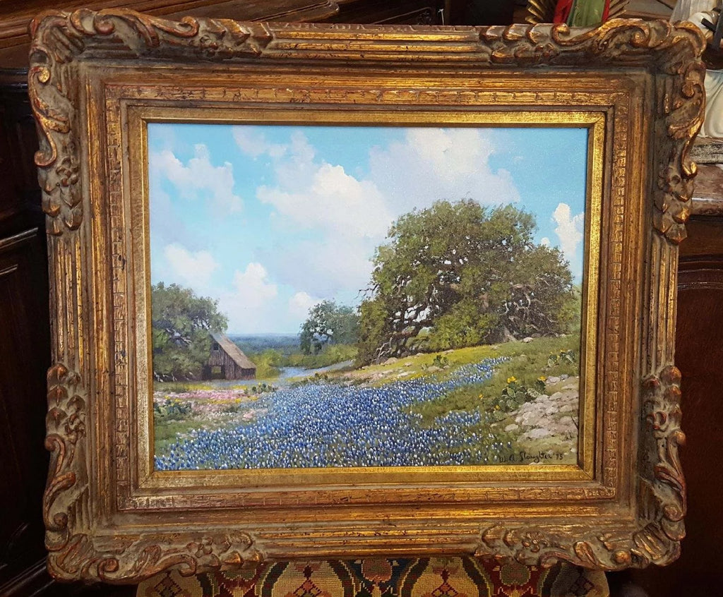 TEXAS BLUEBONNET OIL PAINTING BY WA SLAUGHTER