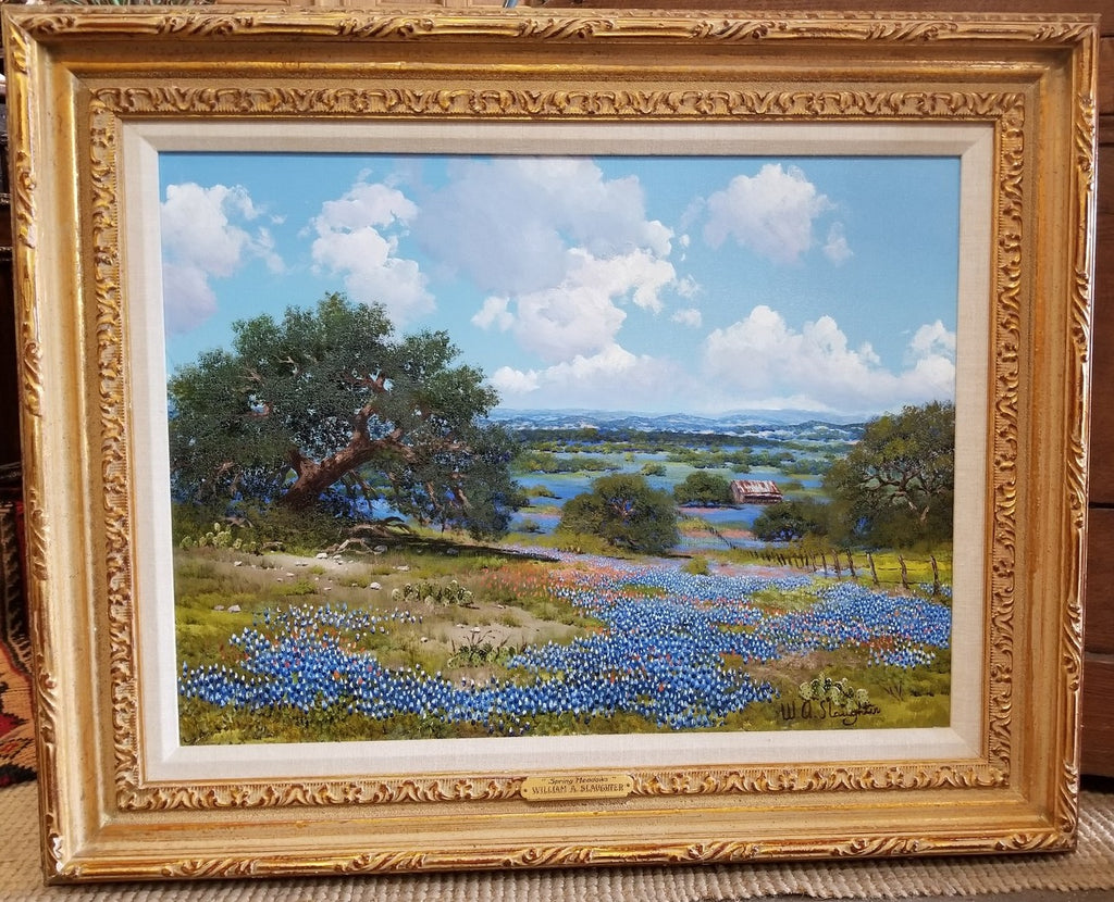 TEXAS BLUEBONNET WITH BARN OIL PAINTING BY WA SLAUGHTER