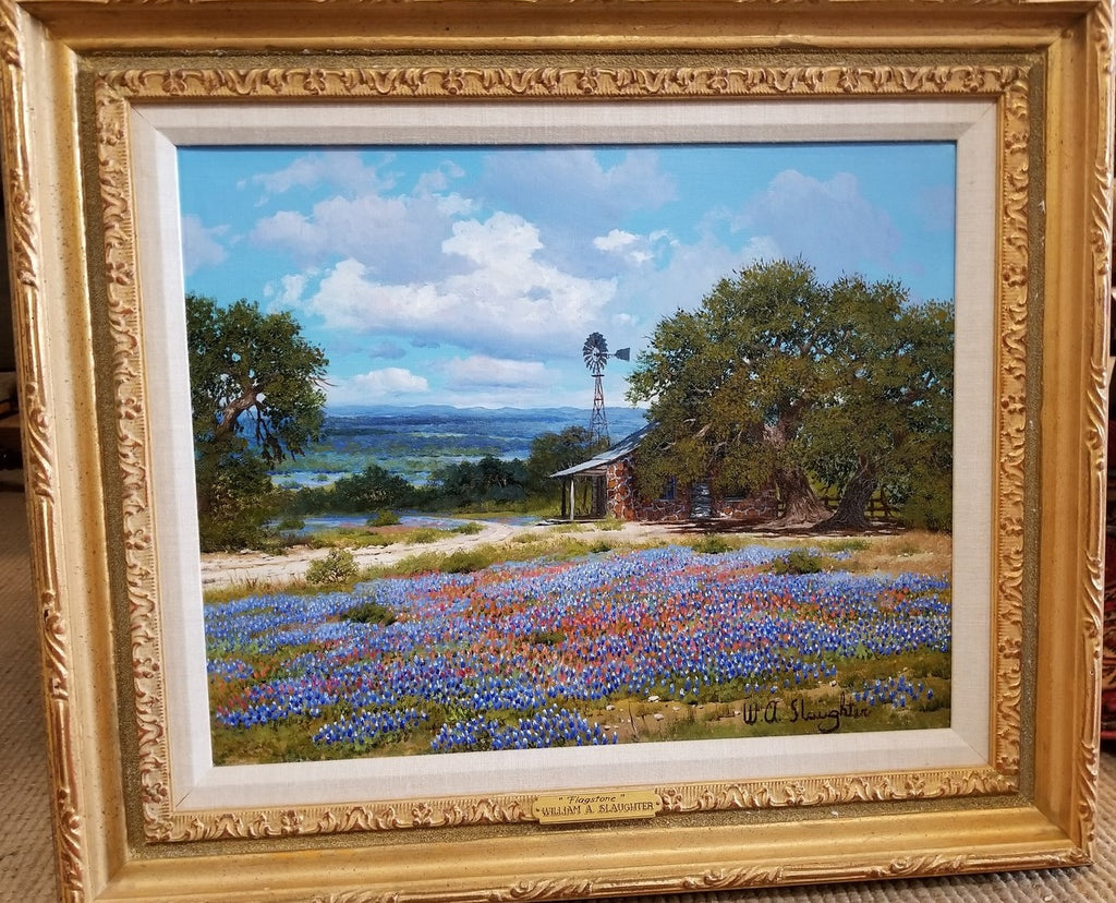 TEXAS BLUEBONNET WITH WINDMILL OIL PAINTING BY WA SLAUGHTER
