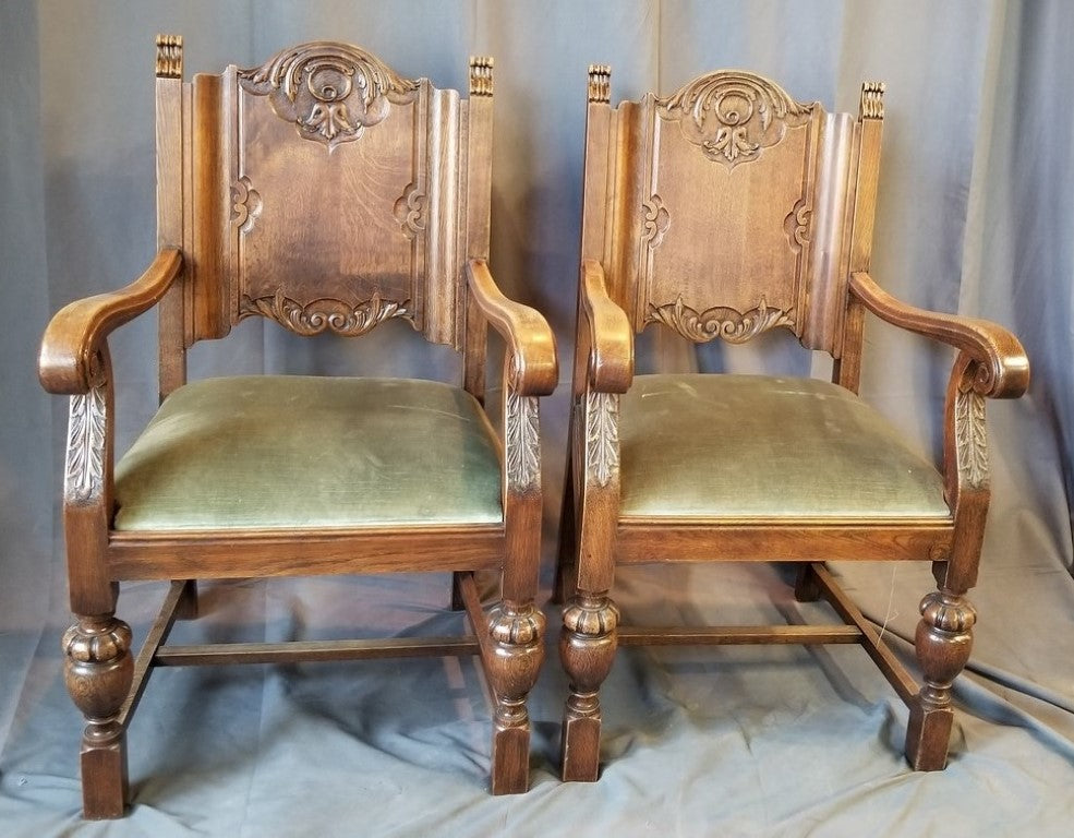 PAIR OF TUDOR STYLE OAK ARM CHAIRS