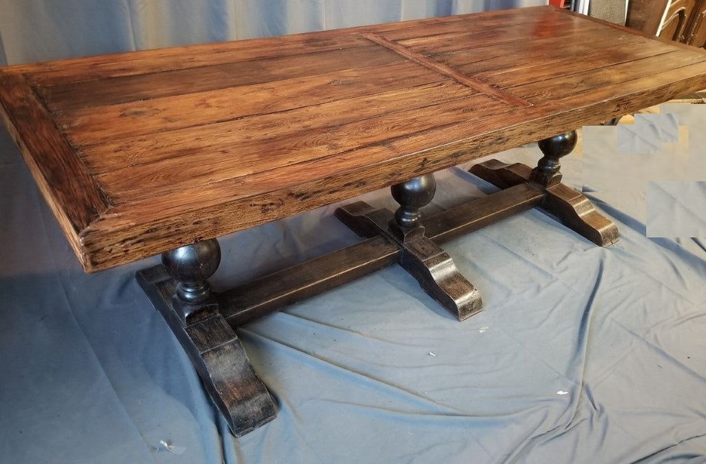 LARGE TRIPLE PEDESTAL FARM TABLE