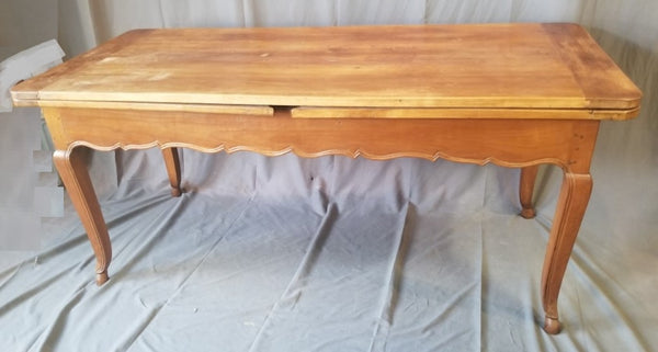 FRENCH LOUIS XV STYLE PEGGED CHERRY DRAW LEAF TABLE