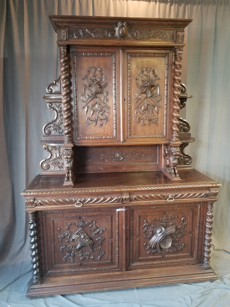 BARLEY TWIST AND LIONS FRENCH OAK HUNT CABINET