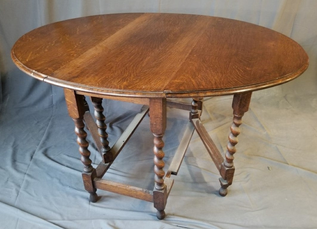 ENGLISH OAK BARLEY TWIST DROP LEAF TABLE