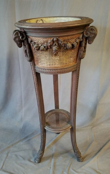 FRENCH RAMS HEAD AND FESTOONS JARDINIERE STAND WITH WICKER SIDES