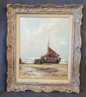 OIL PAINTING OF A SHIP ON THE BEACH BY HEUTER
