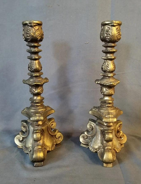 PAIR OF HEAVY FRENCH METAL CANDLE STANDS