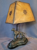 MAITLAND SMITH BRONZE DOG LAMP WITH LEATHER SHADE