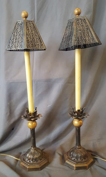 PAIR OF NOT OLD CANDLE STYLE LAMPS WITH PIERCED METAL SHADES
