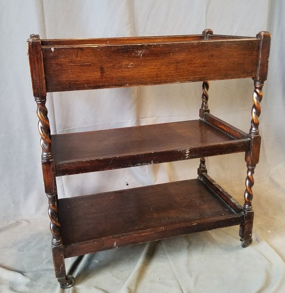 ENGLISH OAK BARLEY TWIST TEA CART