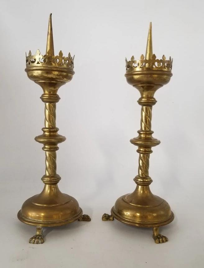 PAIR OF GOTHIC PRICKET CANDLE STICKS