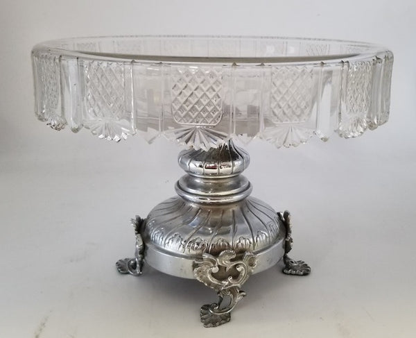 SILVER PLATE CRYSTAL CENTERPIECE BOWL