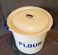 ENGLISH ENAMELED FLOUR TIN