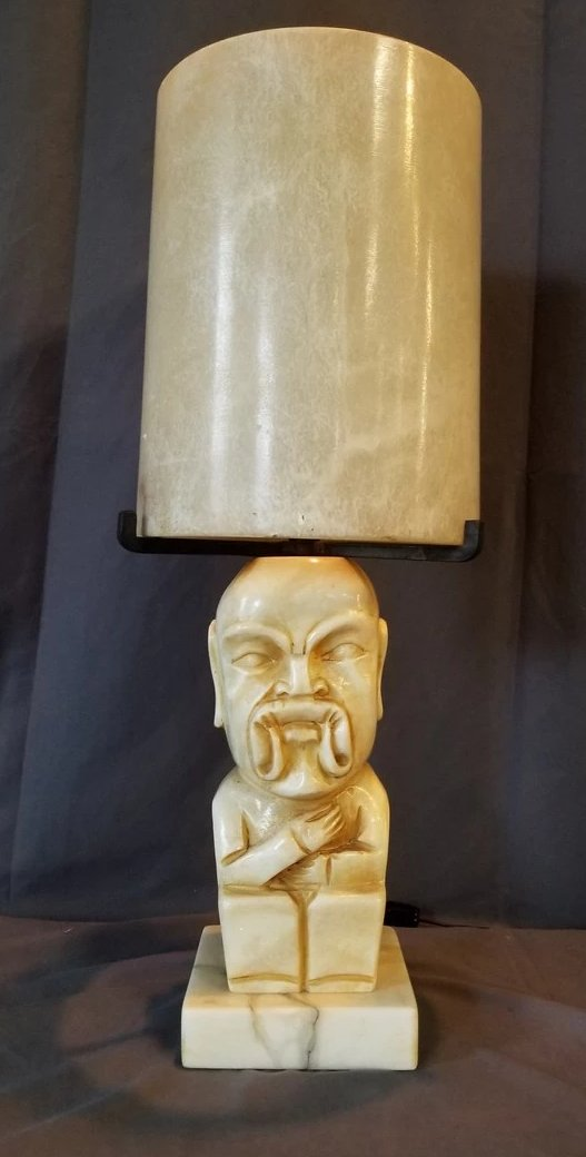 ALABASTER ASIAN MAN LAMP