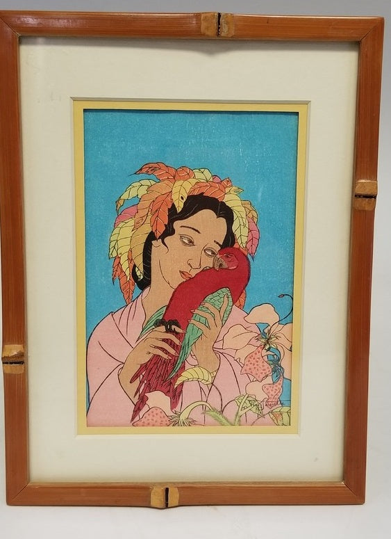 WOOD BLOCK PRINT OF A LADY AND MACAW