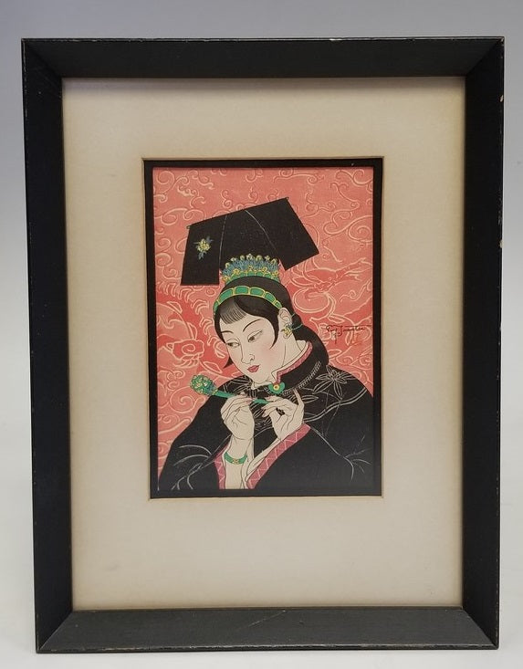 WOOD BLOCK PRINT OF A LADY IN BLACK FRAME