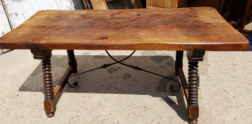 SPANISH STYLE TURNED LEG TRESTLE TABLE WITH IRON STRETCHER