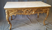 GILT WOOD CARVED CONSOLE WITH WHITE MARBLE