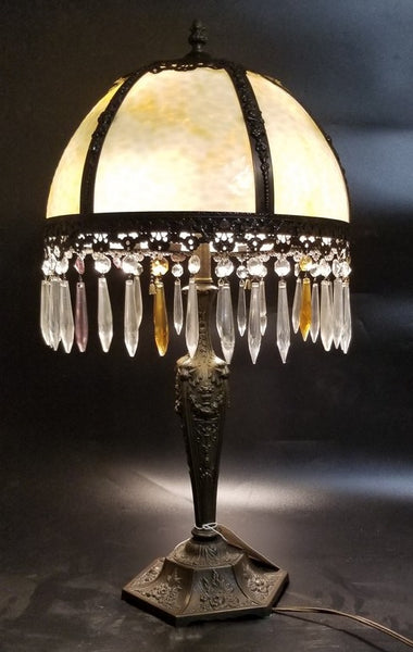 STAINED GLASS LAMP WITH CRYSTAL PRISMS