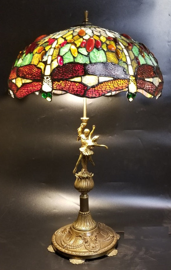 STAINED GLASS LAMP WITH BRASS DANCERS BASE
