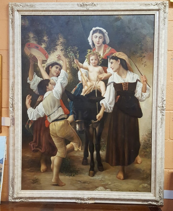 RELIGIOUS OIL PAINTING BY ALEXANDRE BARTOLOMEI  (AFTER BOUGUEREAU)