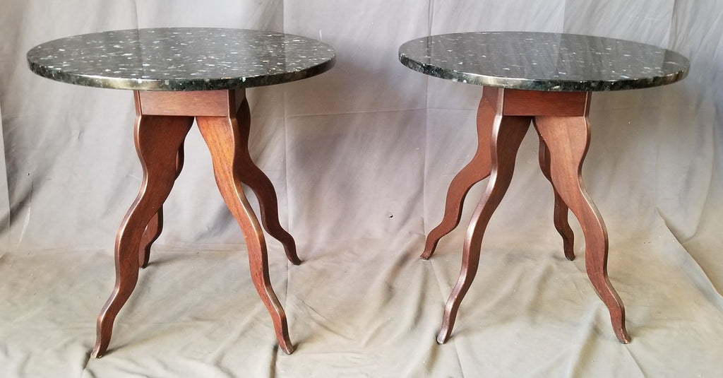 PAIR OF FUNKY  WOOD BASE TABLES WITH ROUND GRANITE TOPS