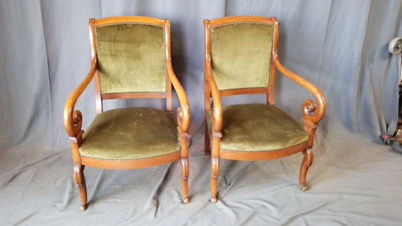 PAIR OF FRENCH EMPIRE MAHOGANY ARM CHAIRS