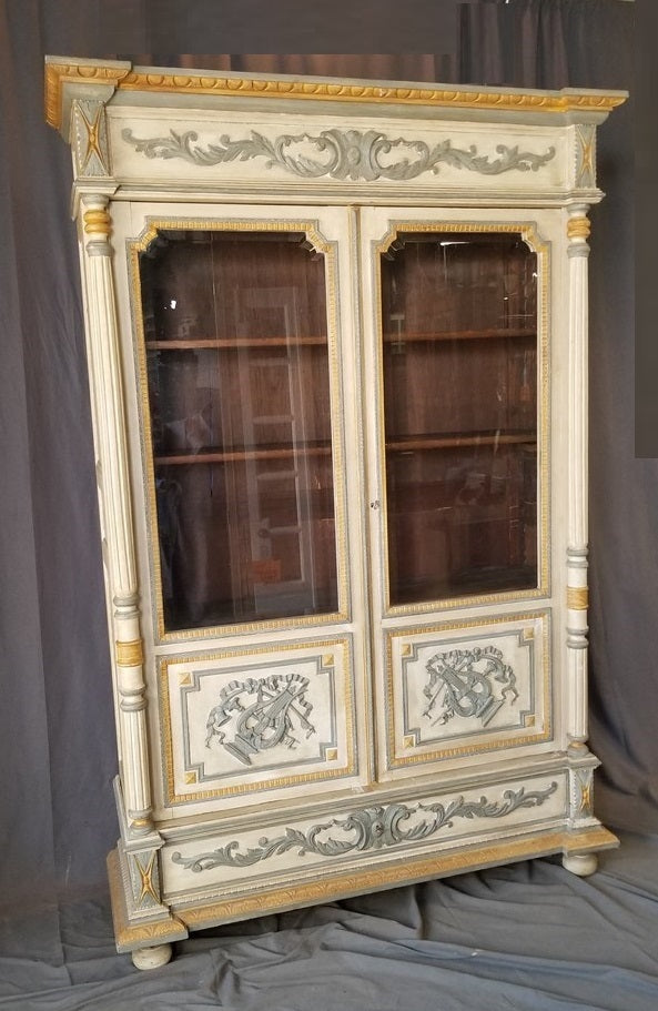 SUPERB HENRI II 2 DOOR PAINTED BOOKCASE ARMOIRE