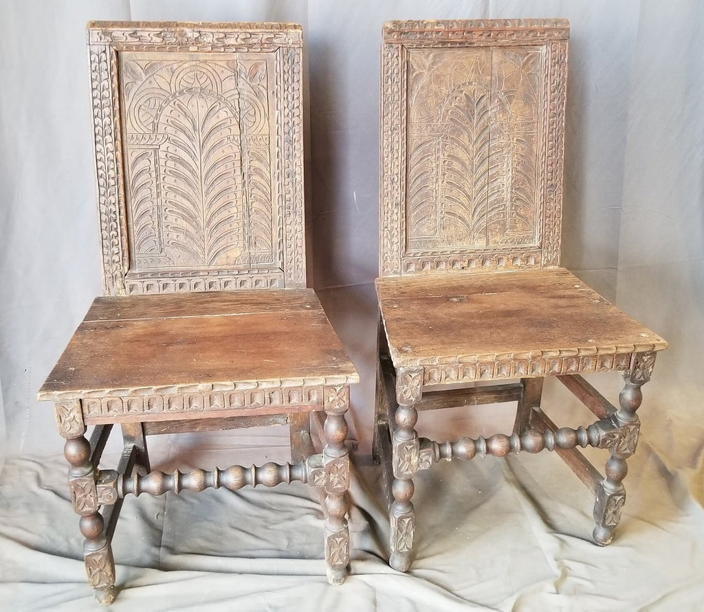 PAIR OF EARLY  ENGLISH OAK HALL CHAIRS
