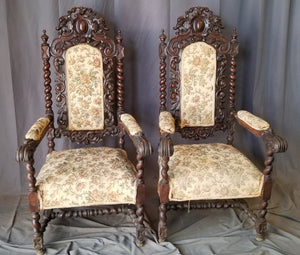 PAIR OF LOUIS XIII BARLEY TWIST ARM CHAIRS