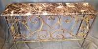 MARBLE TOP IRON CONSOLE TABLE MISSING PAINT