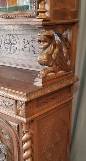 LOUIS XIII STYLE BARLEY TWIST LION HUNTBOARD