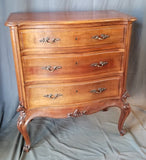 COUNTRY FRENCH WALNUT 3 DRAWER CHEST ON TALL LEGS