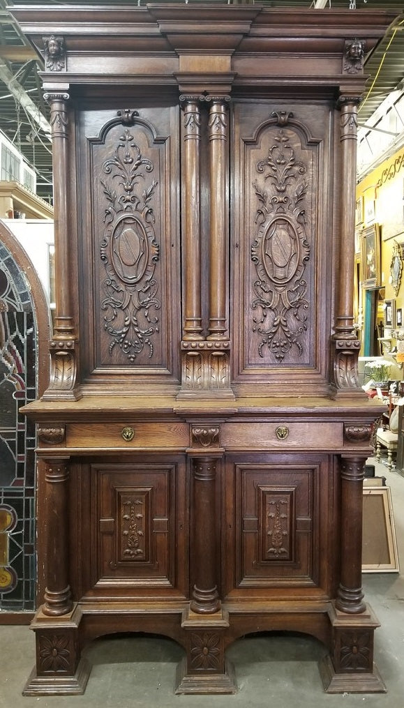 MONUMENTAL 19TH CENTURY OAK 4 DOOR CABINET FROM NORTHERN FRANCE