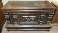 18TH CENTURY COFFER WITH CARVED RELIGIOUS SCENE