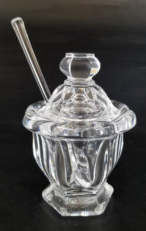 BACCARAT CRYSTAL MUSTARD JAR WITH SPOON