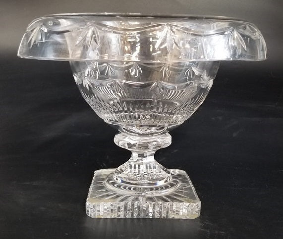 LARGE FANCY CRYSTAL COMPOTE WITH ROLLED EDGE