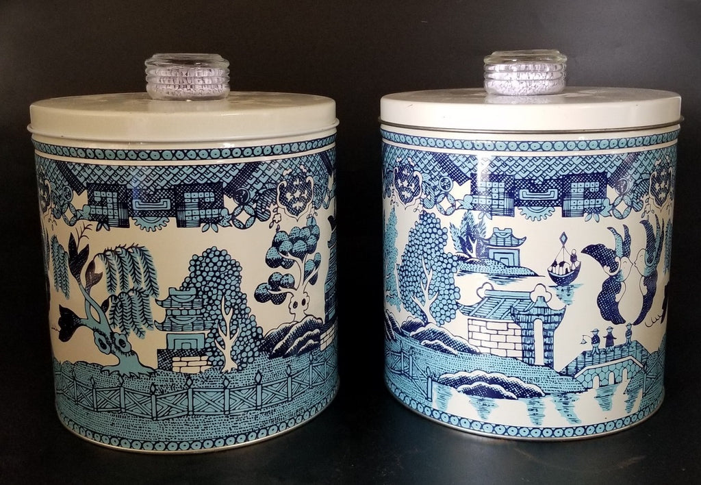 PAIR OF MID CENTURY BLUE AND WHITE CANISTERS