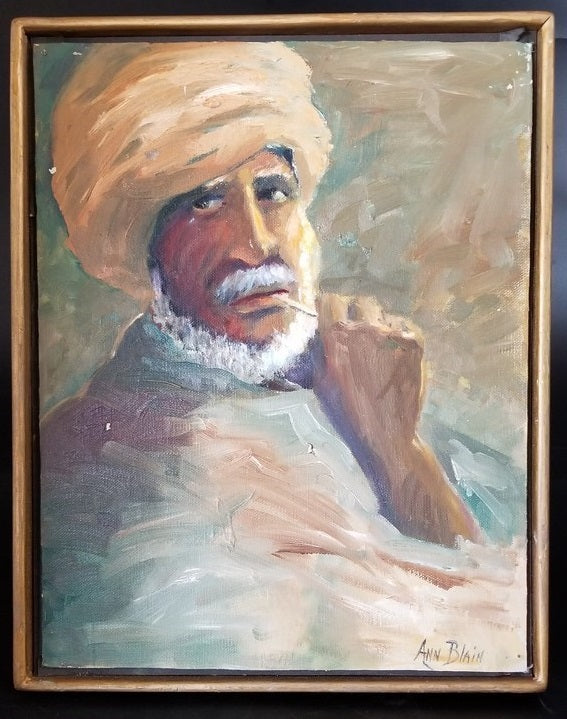 OIL PAINTING OF MAN IN TURBAN