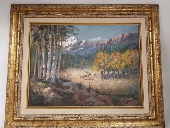 SMALL OIL PAINTING OF DEER AND MOUNTAIN BY JOE R. ROBERTS