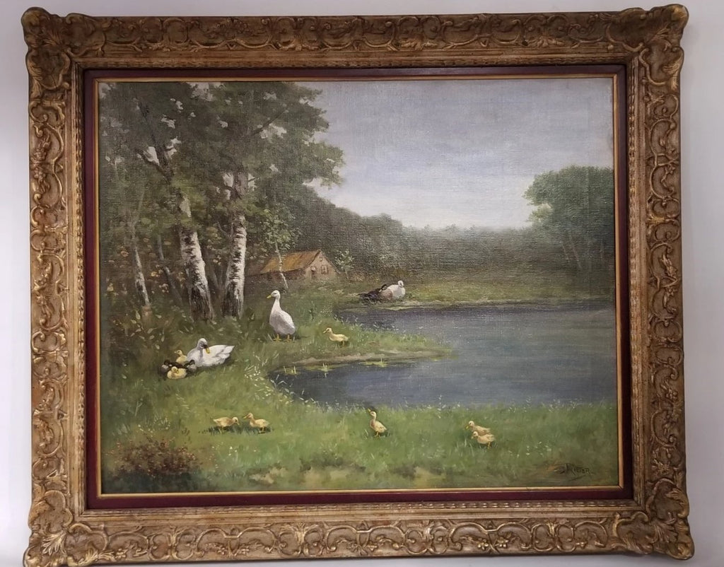 SMALL OIL PAINTING OF DUCKS BY POND by Rieter