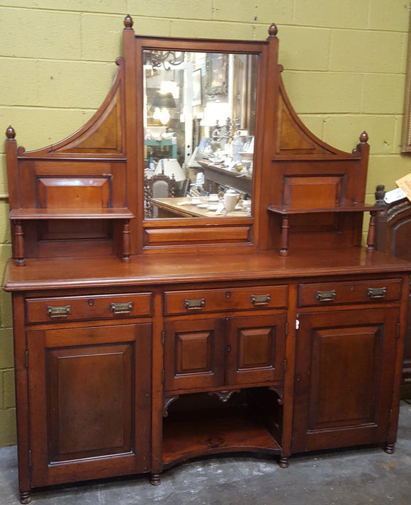 EDWARDIAN SOLID MAHOGANY TURN OF THE CENTURY SIDEBOARD/BUFFET WITH EMBOSSED HARDWARE