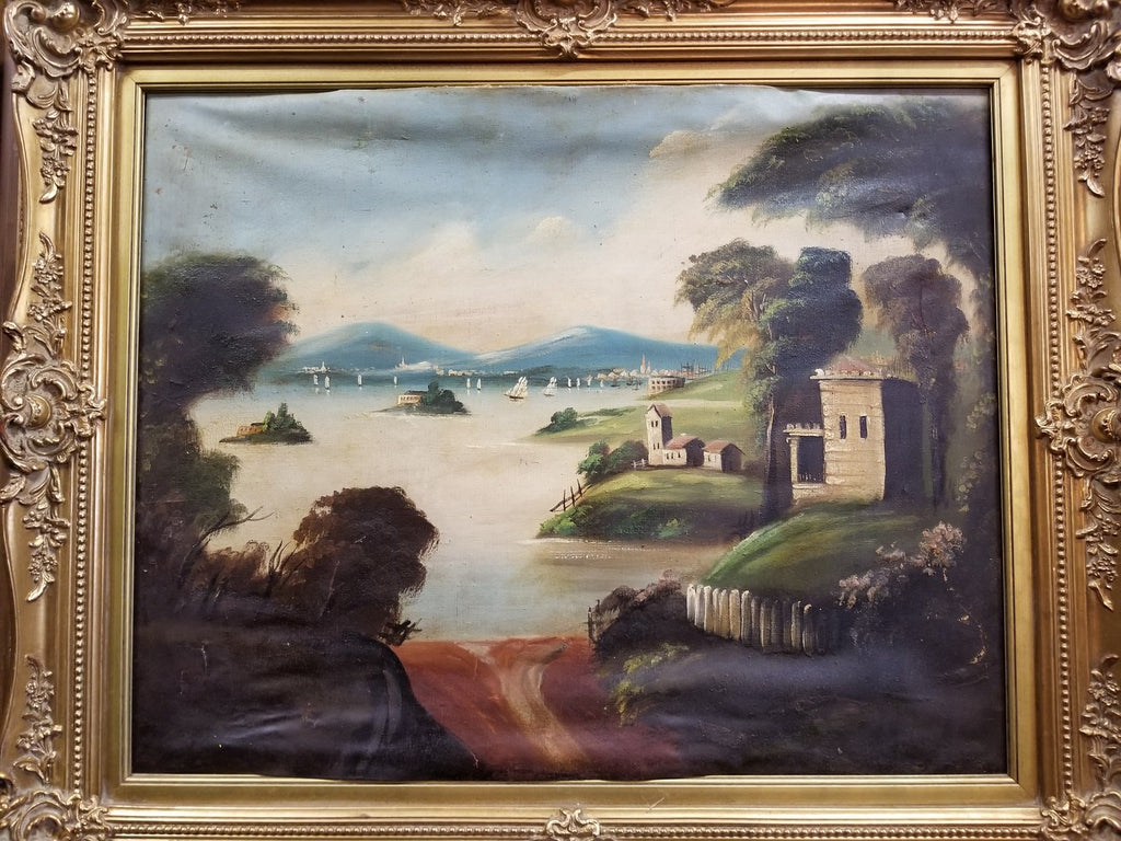LARGE AS FOUND LANDSCAPE IN GOLD FRAME