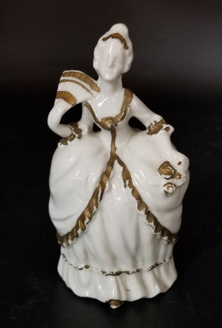 SMALL WHITE WITH GILT TRIM LADY FIGURE-AS IS CRACK